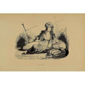 Persian Lady Woman Hookah Iran   Original Engraving: Home & Kitchen