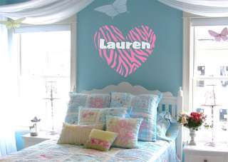 Zebra Stripe Heart Custom Girls Name Vinyl Wall Decal Sticker
