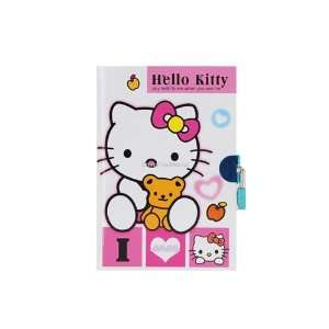 Kitty Hardcover Note Book Diary with Lock Key Pink