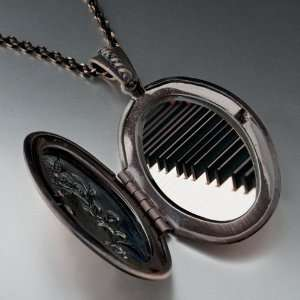 Classic Piano Keys Photo Locket Pendant Necklace Pugster