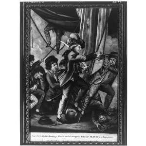 Captain John Paul Jones shooting a sailor,1780,American
