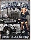 vintage metal sign sexy girl police dept protect serve returns