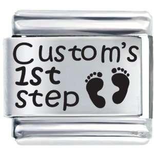 Babys First Step Custom Laser Italian Charms Bracelet