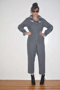Vintage 80s Grey and Plaid Jumpsuit Pantsuit Romper