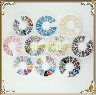 20 Diff Wheel Rhinestones Nail Art Decoration Fimo Pearl Bead