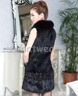 Real Fox Fur Collar Rabbit Hair Trench Coat Jacket Black P65