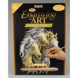 Royal Brush   Gold Foil Engraving Art Horses (Metal Art