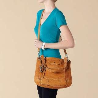 158 Fossil Liberty tan leather CONVERTIBLE satchel purse crossbody bag