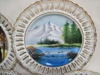 Hand Painted Reticulated Four Season Plates Gold Trim