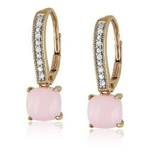 10k Rose Gold Pink Opal and Diamond Fashion Earrings, (.05
