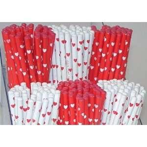 Love Pencil, Red & White Hearts, Valentines Day. 240 Mini