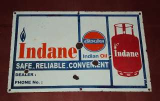 Vintage Porcelain Enamel Indian Gas Sign 1950s