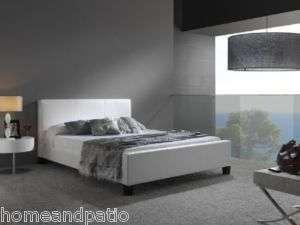 Modern White Euro Leather Platform Full Size Bed