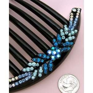 Blue Crystal Hair Comb for French Twist Beauty