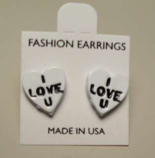 60s Enamel Valentines Day Conversation Candy Heart Pierced Earrings