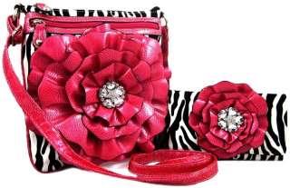 3D Flower Crossbody Messenger Bag Purse Wallet SET Fuschia Pink
