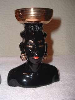 Pair Vintage Blackamoor African HeadVase Head Vase Nubian
