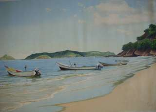Vintage Original Oil Painting Beach Boat Sea 31X19 |