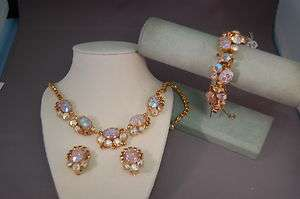 Germany Pressed Floral Glass Bracelet/Necklace/Earrings WOW