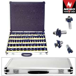 NIEKO 80pc 1/2 Shank Tungsten Carbide Router Bit Set w/ 3 Blades