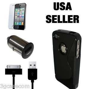 Car Charger Cable Case Screen Protector for New iPhone 4S
