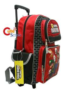 Super Mario School Roller Backpack Rolling BagRed 12