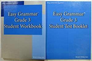 LOT OF 2 Easy Grammar Grade 3 Workbook + Test Book 9780936981482