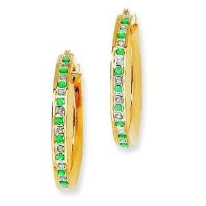 Gold Plated IJ Diamond & Emerald Hoop Earrings Arts, Crafts & Sewing