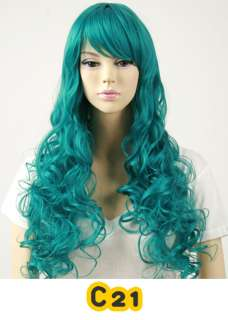 Hair Costume Long Pink Skyblue Violet Green Blue Yellow Red WIG