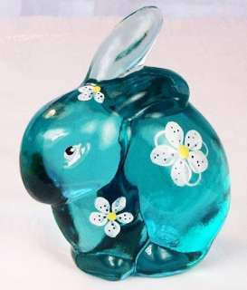 Fenton Hand Painted Bunny Figurine in Robins Egg Blue