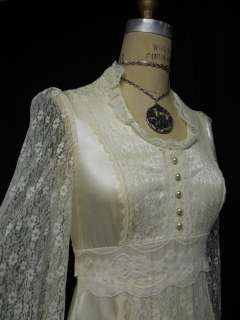 Wedding Vtg 70s 80s San Fran Gunne Sax Ivory gown Lace Dress maxi