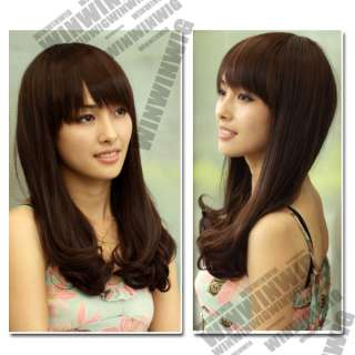 color Lovely Wavy Full Wig Lady Hair Wig 18 Synthetic Fiber + Head