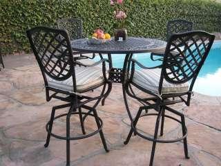 Outdoor Cast Aluminum Patio Furniture 5 Piece Bar Table Set B 4 Swivel