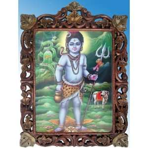 Lord Krishna Like a Small Shiva, Wood Craft Frame: Home & Kitchen