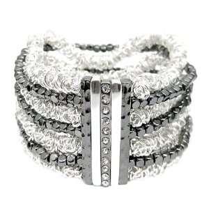 Silver Tone Gunmetal Two Tone Stretch Bracelet Jewelry