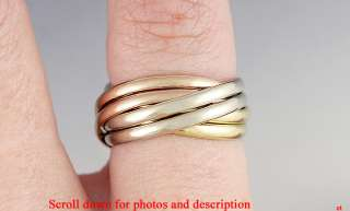 SUPERB TIFFANY & COMPANY 6 BAND TRI COLOR 14K ROLLING RING