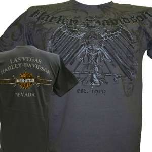 Harley Davidson Las Vegas Dealer Tee T Shirt GRAY MEDIUM #BRAVA1