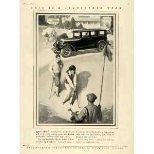 1925 Ad Antique Studebaker Harry Slater Art Golfing   Original Print