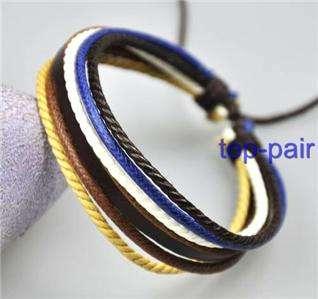 Surfer Multi Leather Hemp Braid Bracelet Wristband C06