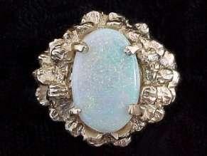 14Kt Solid Heavyweight Nugget Gold Ring Opal Gem Stone Gemstone Sz 5.5