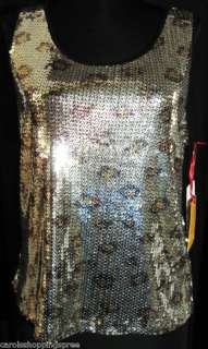 Ruby Rd NWT Misses M Metallic Silver Leopard Print Tank Top with