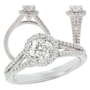 white gold diamond engagement ring semi mount, holds a 1 carat center