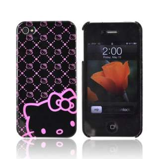 Pink Black Hello Kitty Case For AT&T Verizon iPhone 4