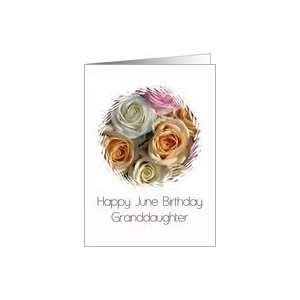 June Birthday pastel roses card   Rose June Birth Month Flower Card