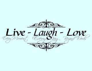 Vinyl Wall Decal Art Saying Decor Live Laugh Love