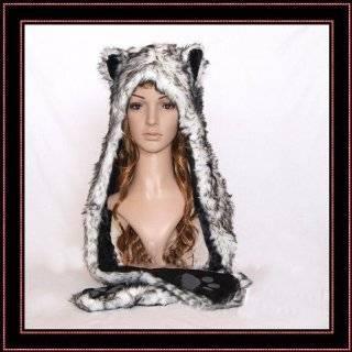 Black Cat Full Animal Hood Hoodie Hat Faux Fur 3 in 1 Function Paw