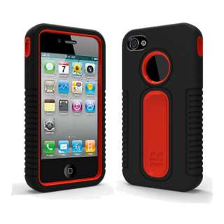 Black Red Duo Shield Hard Case Snap On Cover for Apple iPhone 4S 4G w