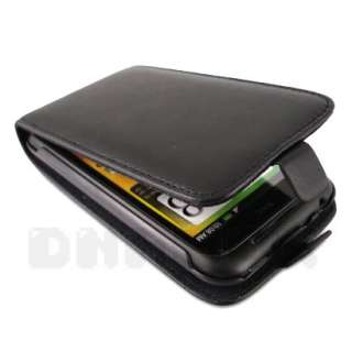Leather Case Pouch Cover + Film For HTC Incredible S u_Black