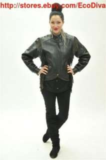 VTG ladies HARLEY DAVIDSON BLACK LEATHER fringed lace BIKER JACKET