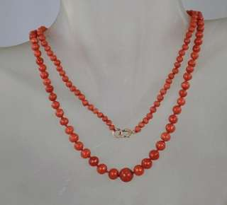 Antique Natural Mediterranean Sea Red Coral Bead Necklace with 14k